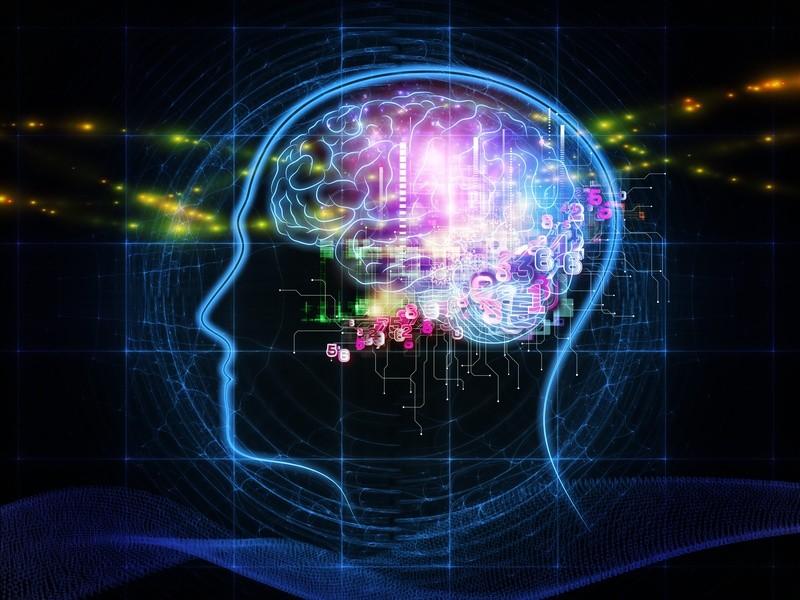 Dibujo abstracto del cerebro; tratamiento HEG - Hemoencefalograma